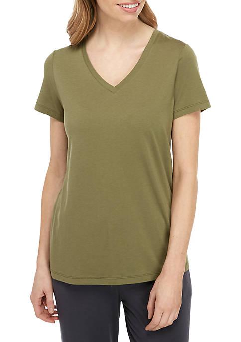HUE® Short Sleeve V Neck T Shirt