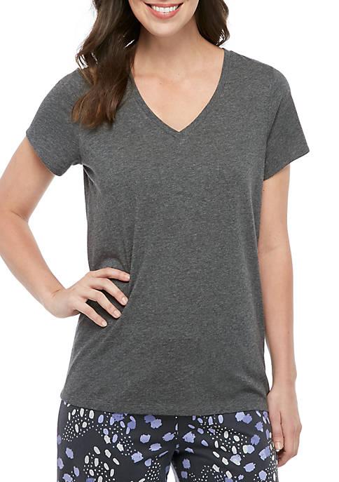 HUE® Gray Short Sleeve Sleep Tee
