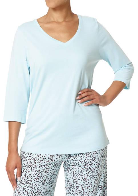 HUE® Solid 3/4 Sleeve V-Neck PJ T-Shirt