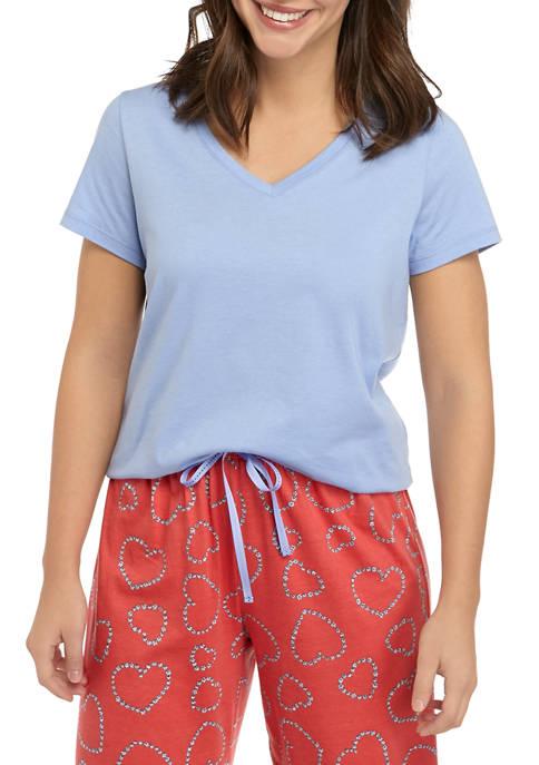 Short Sleeve V Neck Sleep T-Shirt