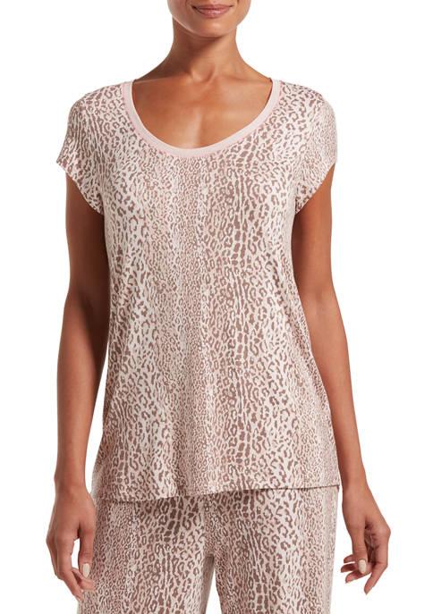 HUE® Womens Leopard Stripe Short Sleeve T-Shirt