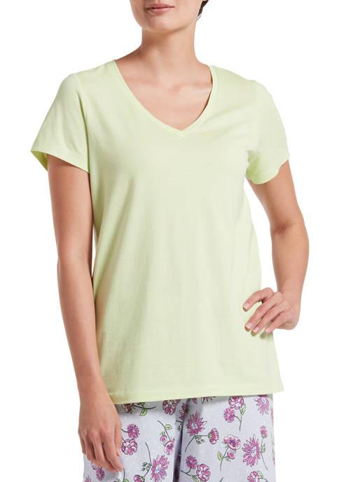 HUE® Solid Short Sleeve V-Neck T-Shirt