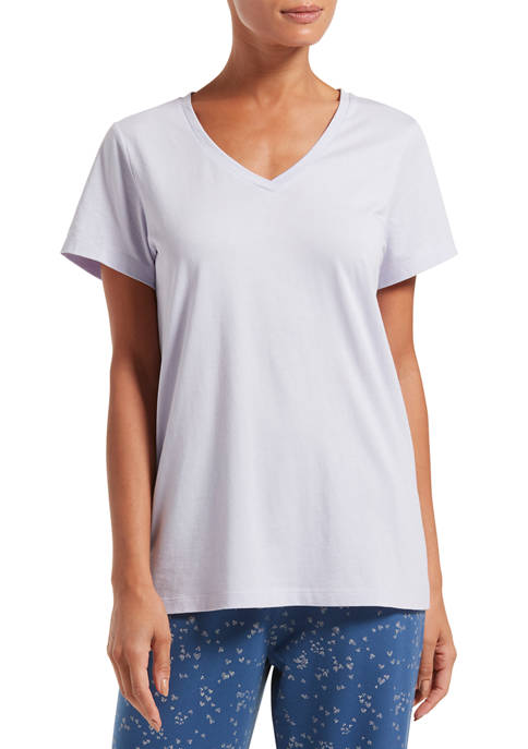 HUE® Solid Short Sleeve V-Neck T-Shirt