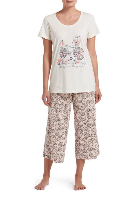 HUE® Bicycle Print Capri Pajama Set
