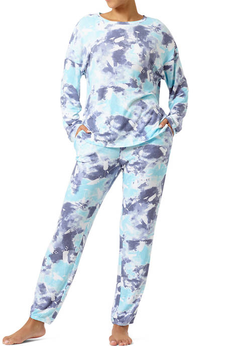 HUE® Cloud Tie Dye Cocktails Long Sleeve Jogger