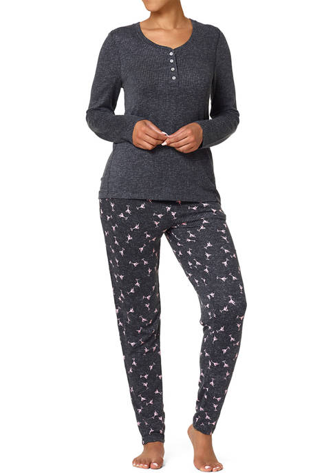 HUE® Margaricious Henley Ribbed Pajama Set