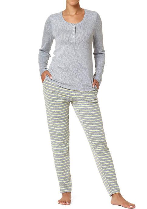 HUE® Easy Stripe Henley Ribbed Pajamas Set