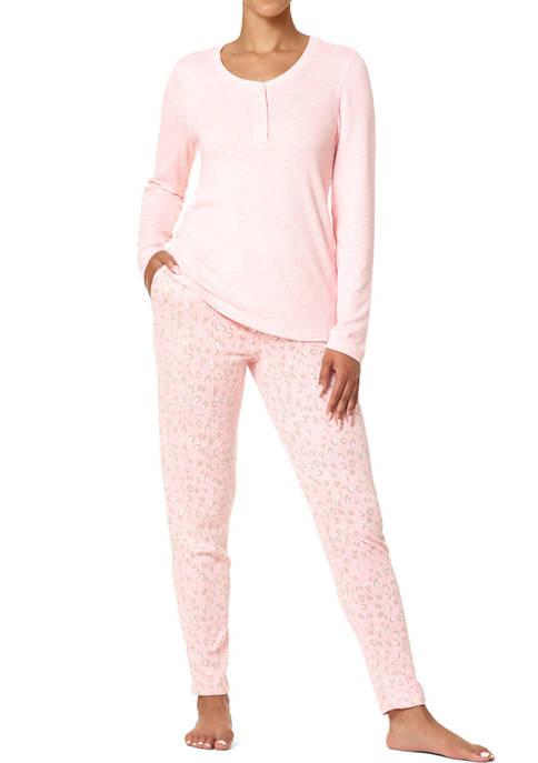 HUE® Sassy Leo Henley Ribbed Pajama 2-Piece Set