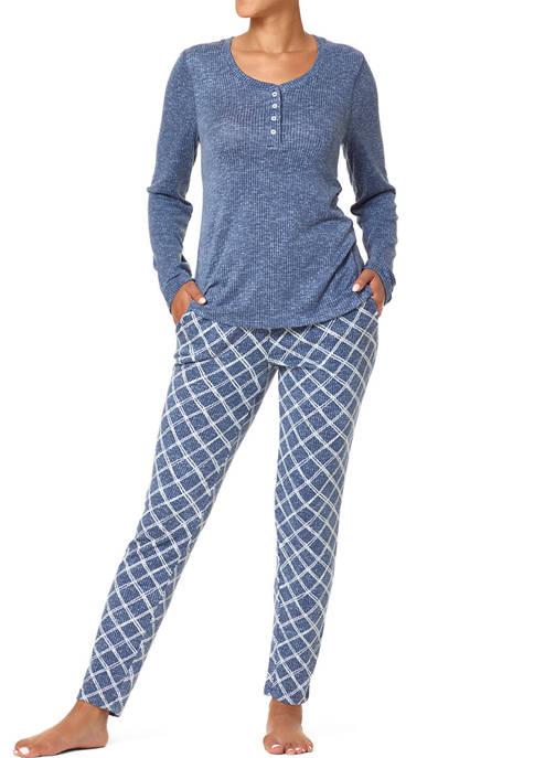 HUE® Doodle Plaid Henley Ribbed Pajamas Set