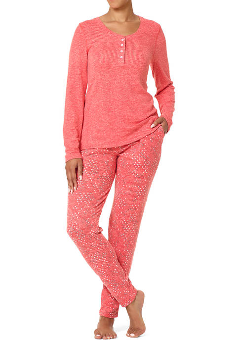 HUE® Square Geo Henley Ribbed Pajamas Set