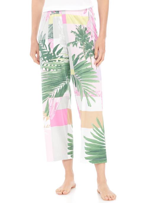 HUE® Palm Print Classic Pajama Capri Pants