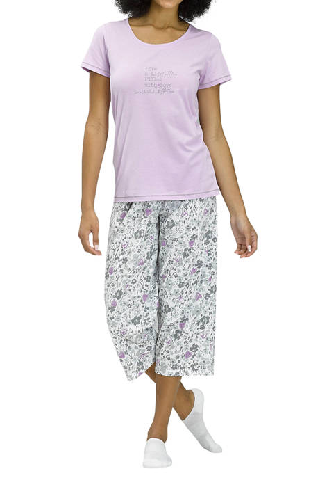 HUE® 2-Piece Filled with Love Floral Pajama Capri