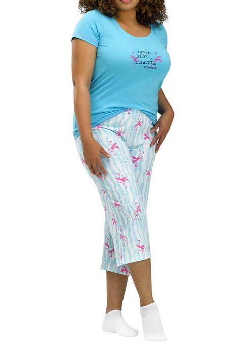 HUE® 2-Piece Chance to Dance Flamingo Pajama Capri