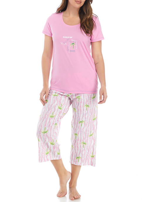 HUE® Positive Thoughts/Palm Pajama Capri Set