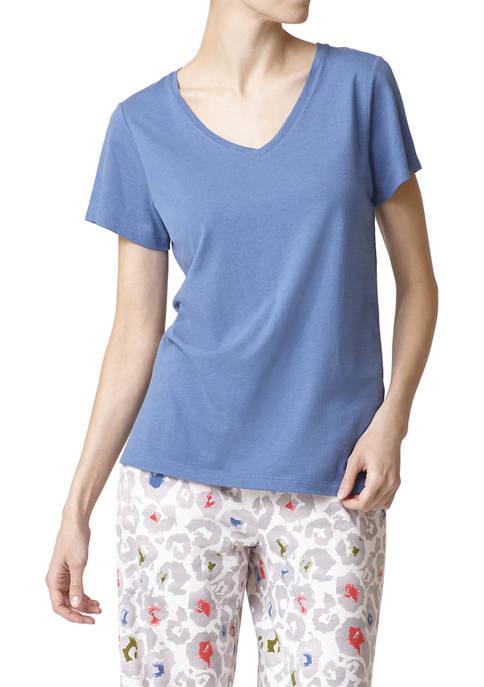HUE® Womens Solid Short Sleeve V-Neck Pajama T-Shirt