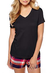 HUE® Solid V-Neck Short Sleeve Sleep Tee