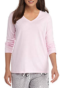 HUE® Solid Long Sleeve V-Neck Sleep Tee  cc212c09a