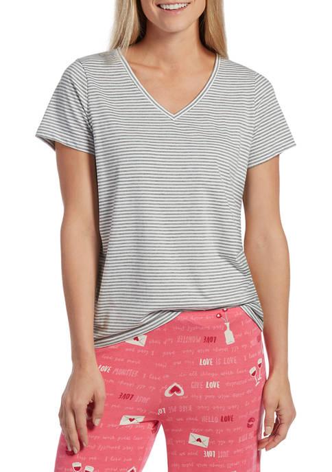 HUE® Deck Stripe Short Sleeve V-Neck Sleep T-Shirt