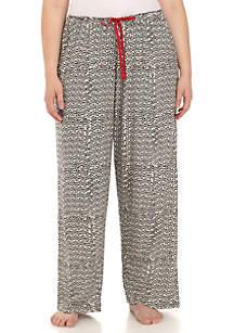 Plus Size Pinwheel Tree Print Pajama Pants
