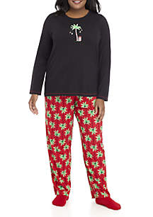 Plus Size Long Sleeve Candy Palm Pajama Set