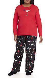 Plus Size Long Sleeve Holiday Sparkler Pajama Set