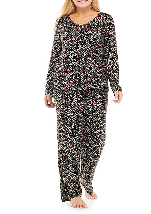 HUE® Plus Size 2-Piece Tree Hugger Pajama Set