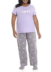 Plus Size Short Sleeve Love Cat Pajama Set