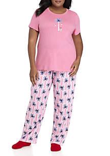Short Sleeve Candy Palm Pajama Set