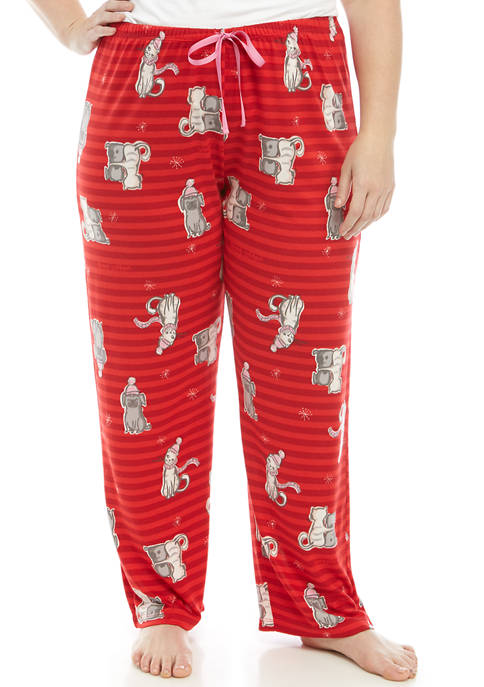 HUE® Plus Size Cat Print Striped Pajama Pants