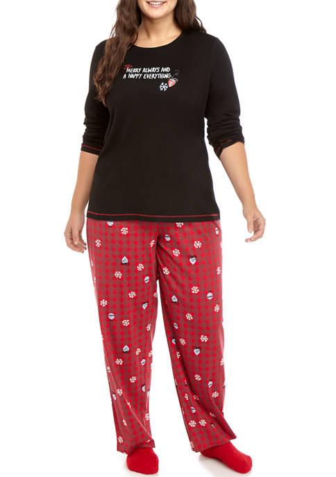 HUE® Plus Size 3 Piece Merry Everything Pajama