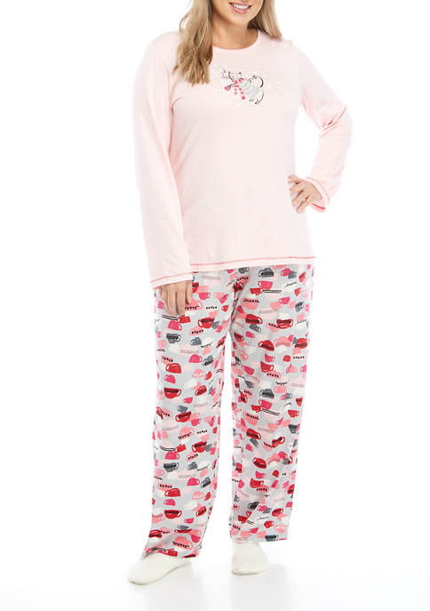 Plus Size 3 Piece Cat Teacup Pajama Set