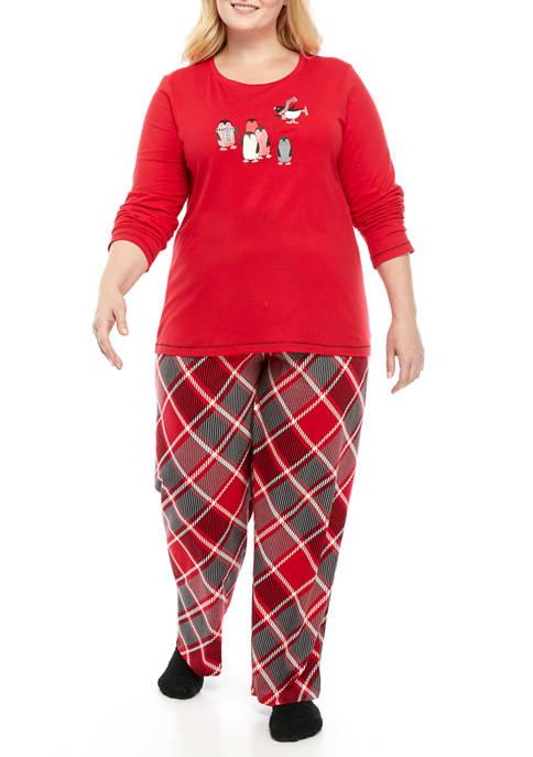 HUE® Plus Size 3 Piece Penguin Plaid Pajama