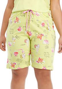 HUE® Plus Size Spring Goodies Bermuda Sleep Shorts