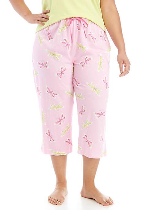 HUE® Plus Size Dragonfly Fusion Capri Sleep Pants