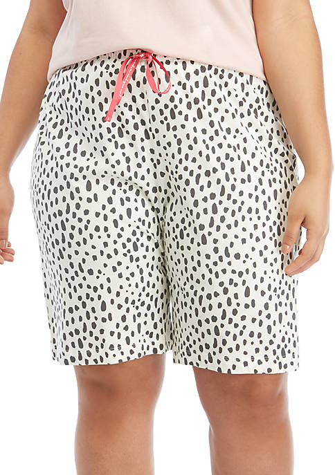 HUE® Plus Size Animal Pop Bermuda Pajama Shorts