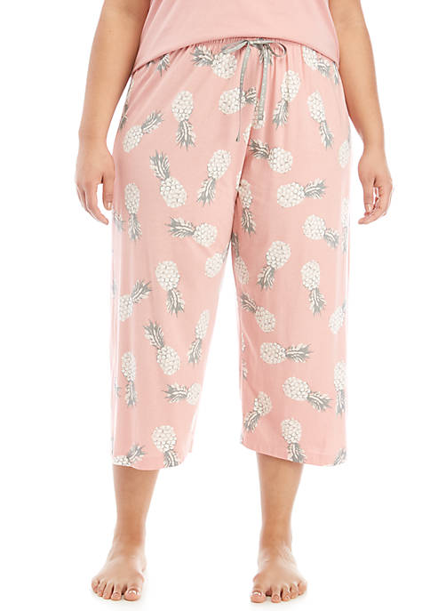 HUE® Plus Size Retro Pink Capri Pajama Pants