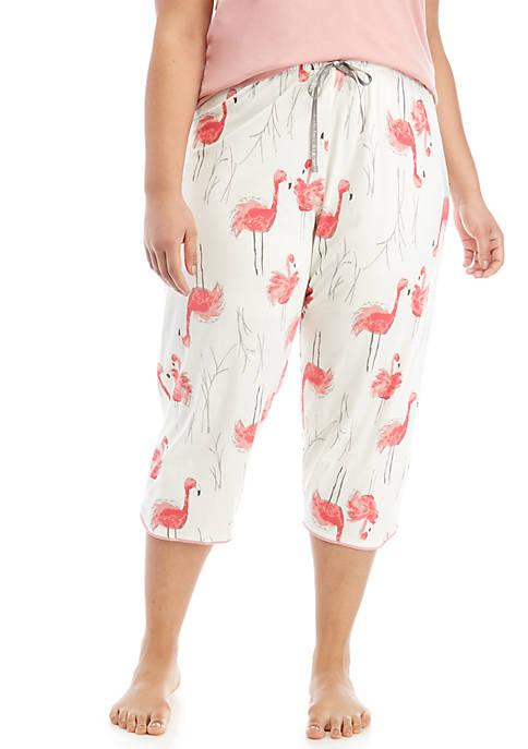 Plus Size Flamingo Bush Capri Sleep Pants
