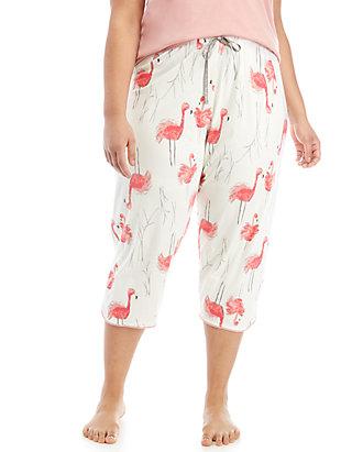 e07c194ccc5 HUE® Plus Size Flamingo Bush Capri Sleep Pants