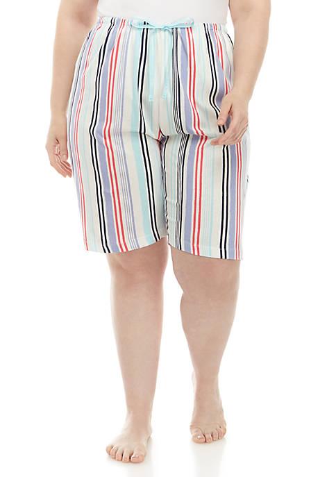 HUE® Plus Size Nautical Stripe Bermuda Sleep Shorts