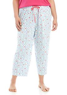 HUE® Plus Size Polka Dot Pajama Capris