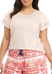HUE® Plus Size Double Flounce Sleeve Sleep Tee