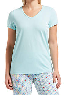 HUE® Short Sleeve V Neck Sleep Tee