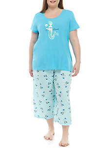 HUE® Plus Size 2 Piece Pajama Mermaid Capri Set