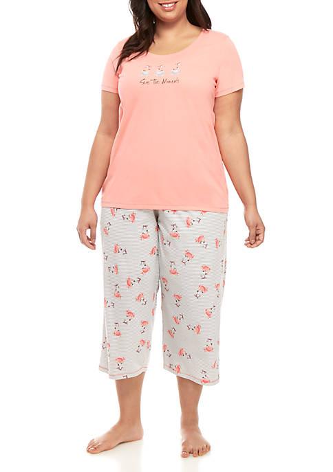 HUE® Plus Size Crabella Capri Sleep Set
