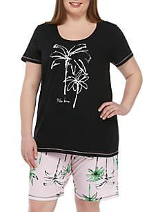 HUE® Plus Size 2 Piece Palm Isle Bermuda Pajama Set