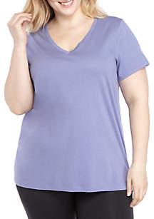 HUE® Plus Size Short Sleeve Lavender V Neck Tee