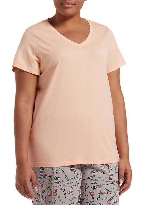 HUE® Plus Size Short Sleeve V-Neck Sleep T-Shirt