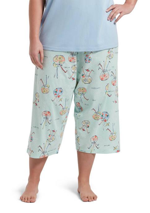 Plus Size Fishbowl Cocktail Pajama Capris
