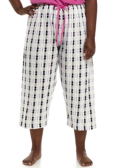 HUE® Plus Size Box Plaid Capri Pajama Pants