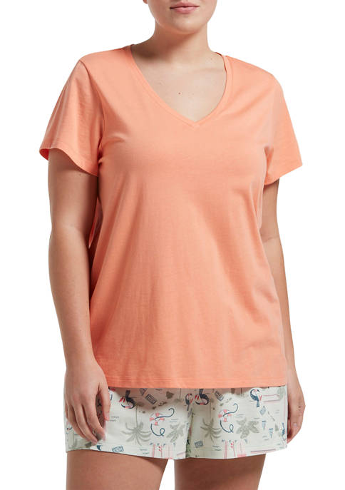 HUE® Plus Size Short Sleeve V-Neck T-Shirt